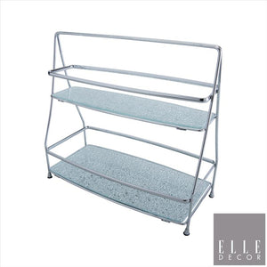 Elle Décor 2 Tier Hammered Mirror Vanity Tray Tower (Chrome) (Case Pack of 6)