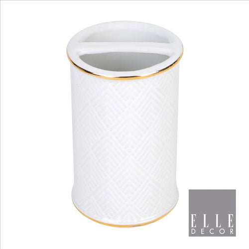 Elle Décor Embossed Ceramic Toothbrush Holder (Case Pack of 12)