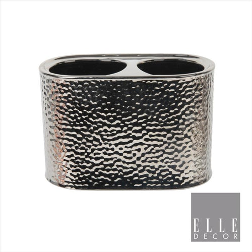 Elle Décor Hammered Metallic Ceramic Toothbrush Holder (Case Pack of 12)