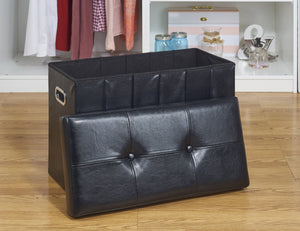 COLLAPSIBLE BENCH/HAMPER OTTOMAN- BLACK 25X12""