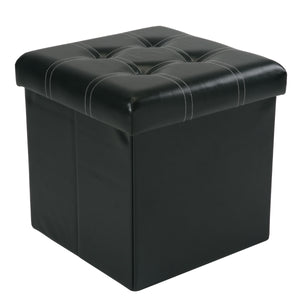 Single Folding Faux Leather Ottoman W/ Contrast Stitching + 4 Buttons on Top