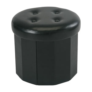 "15"" Round Folding  Faux Leather Storage Ottoman W/ 6 Pockets inside"