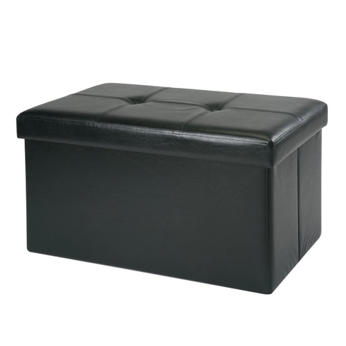Double Folding Faux Leather  Storage Ottoman W/ Shoe  Holder + 8 Pockets inside