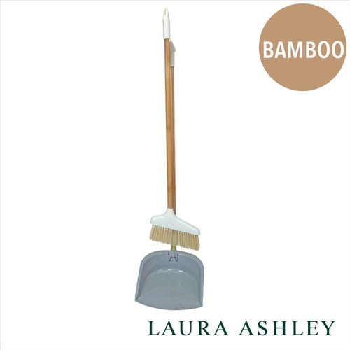 BAMBOO STANDUP DUSTPAN/BROOM - BAMBOO/GREY/WHITE (Case Pack of 12)