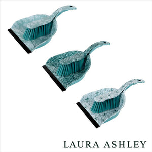 PRINTED DUST PAN AND BRUSH - AQUA (Case Pack of 12)