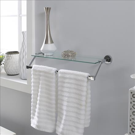 Neu Home Hanging Glass Shelf with Towel Bar (Case Pack of 4)