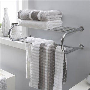 Neu Home Wall Mounted Bath Shelf with Towel Bar in Chrome (Case Pack of 4)