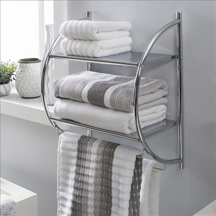 Neu Home 2 Tier Wall Mount Shelf with Towel Bars (Case Pack of 4)