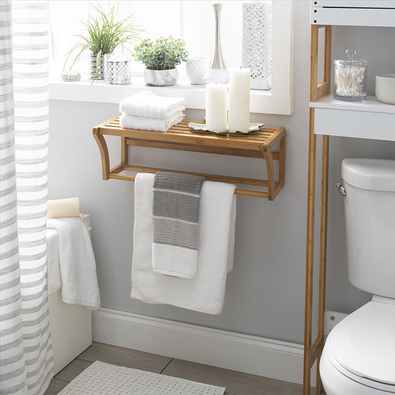 Neu Home Bamboo Wall Mounted Shelf with Towel Bar (Case Pack of 1)