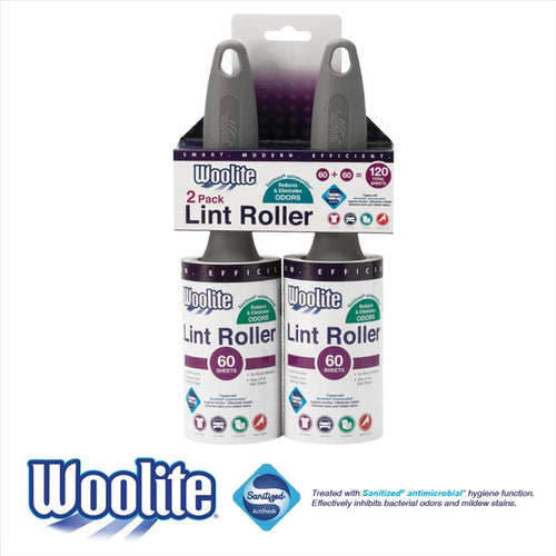 Woolite Sanitized Pro Grade 60 Sheet Super Jumbo Lint Roller 2 Pack (Case Pack of 24)