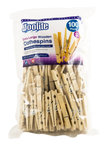 100CT XL BIRCH WOODEN CLOTHESPINS BAG-2646 (Case Pack of 12)