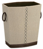Waste Basket - Canvas and Faux Leather with Stitching (Case Pack of 6)