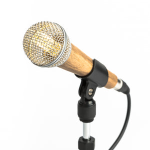 Wooden Microphone Desk Lamp - Silver - Microphone Mania