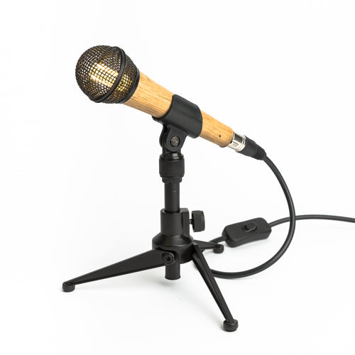 Wooden Microphone Desk Lamp - Black