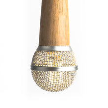 Hanging Wooden Microphone Lamp - Silver - Microphone Mania