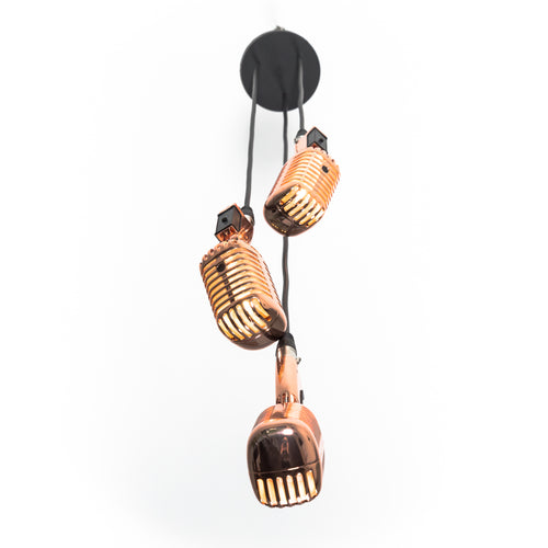 Triple Retro Microphone Pendant - Rose Gold