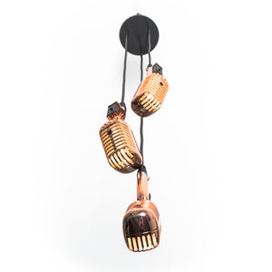 Triple Retro Microphone Pendant - Rose Gold - Microphone Mania