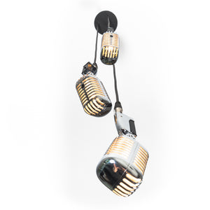 Triple Retro Microphone Pendant Lamp - Silver