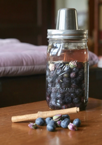 Fermented Blueberries with Rose Buds