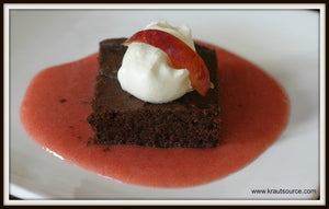 Gluten-Free Black Bean Brownie with Fermented Plum Sauce