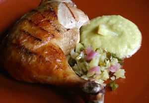Grilled Chicken with Fermented Lemon-Jalapeno Salsa & Lemony Mayo