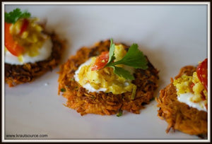 Sweet Potato Pancakes with Chow-Chow Kraut