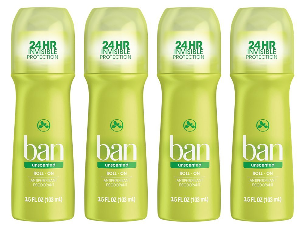 Ban Roll On, Unscented, 3.5 Oz, 4 Pack