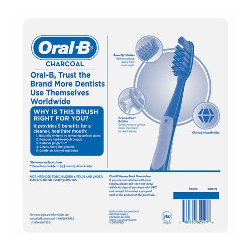 Oral-B Charcoal Whitening Therapy Toothbrush, Medium, 6-pack