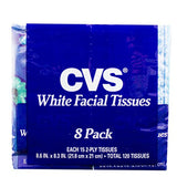 CVS 2-Ply White Facial Tissues (Eight 15ct Softpacks, Total 120 Tissues)