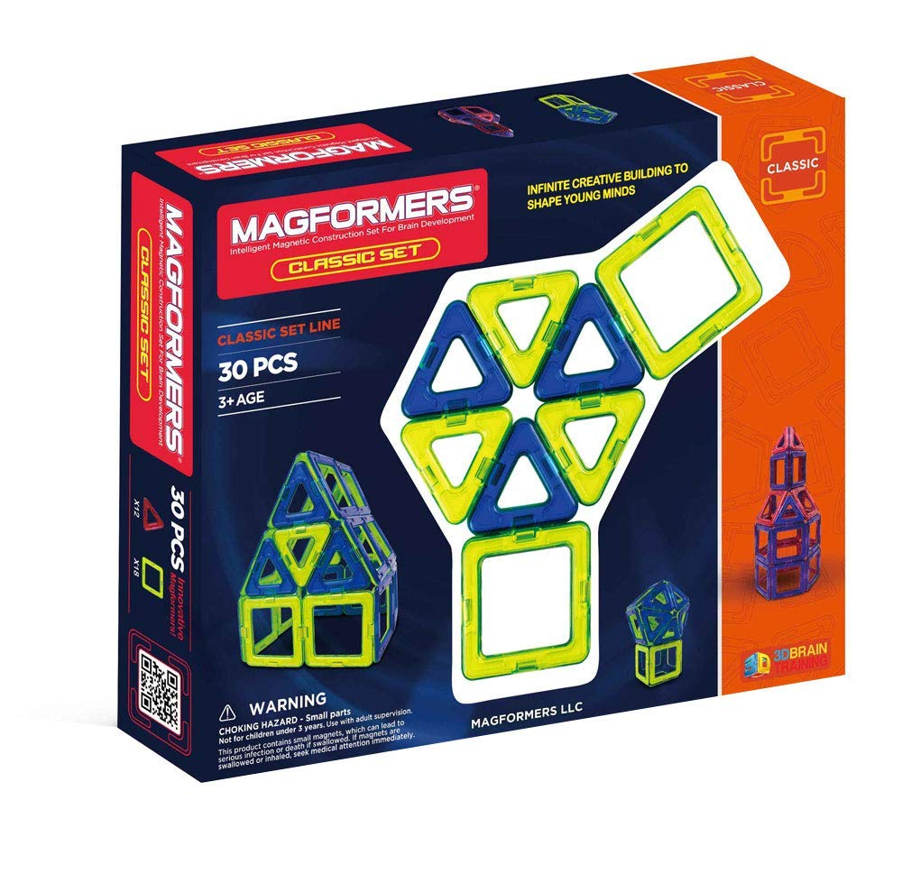 Magformers Classic 30 pc Set Magnetic Building Blocks Educational Stem