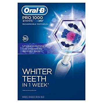 Oral-B White Pro 1000 3D White Rechargeable Toothbrush Powered by Braun