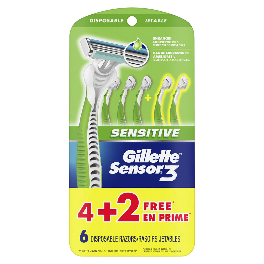 Gillette Sensor 3 Disposable Razors Men's, Bonus 6 Count
