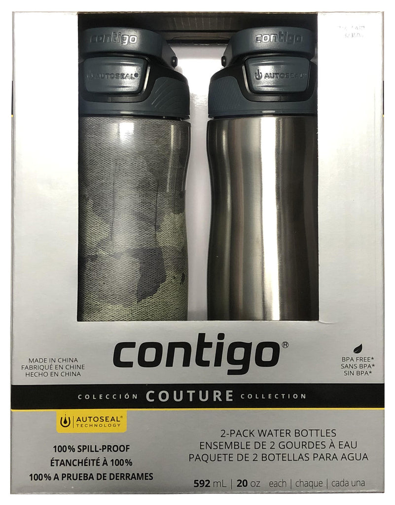 Contigo Autoseal 20 oz Water Bottle, Couture Collection Green/Gray, 2 Pack