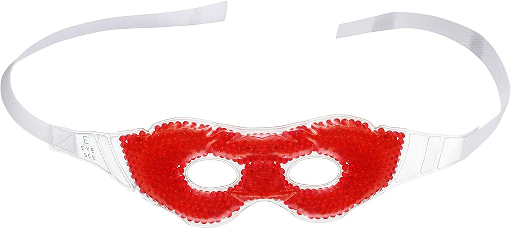 Eye See Gel Eye Mask, Red - Cold Compress Ice Pack with Gel Beads - Microwave Safe for Heat Therapy - Great for Puffy Eyes, Dark Circles, Dry Eyes, Soothing Headaches