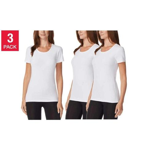 32 Degrees Women's Scoop Neck Short Sleeve Cool Tee, White, Medium, 3 Pack