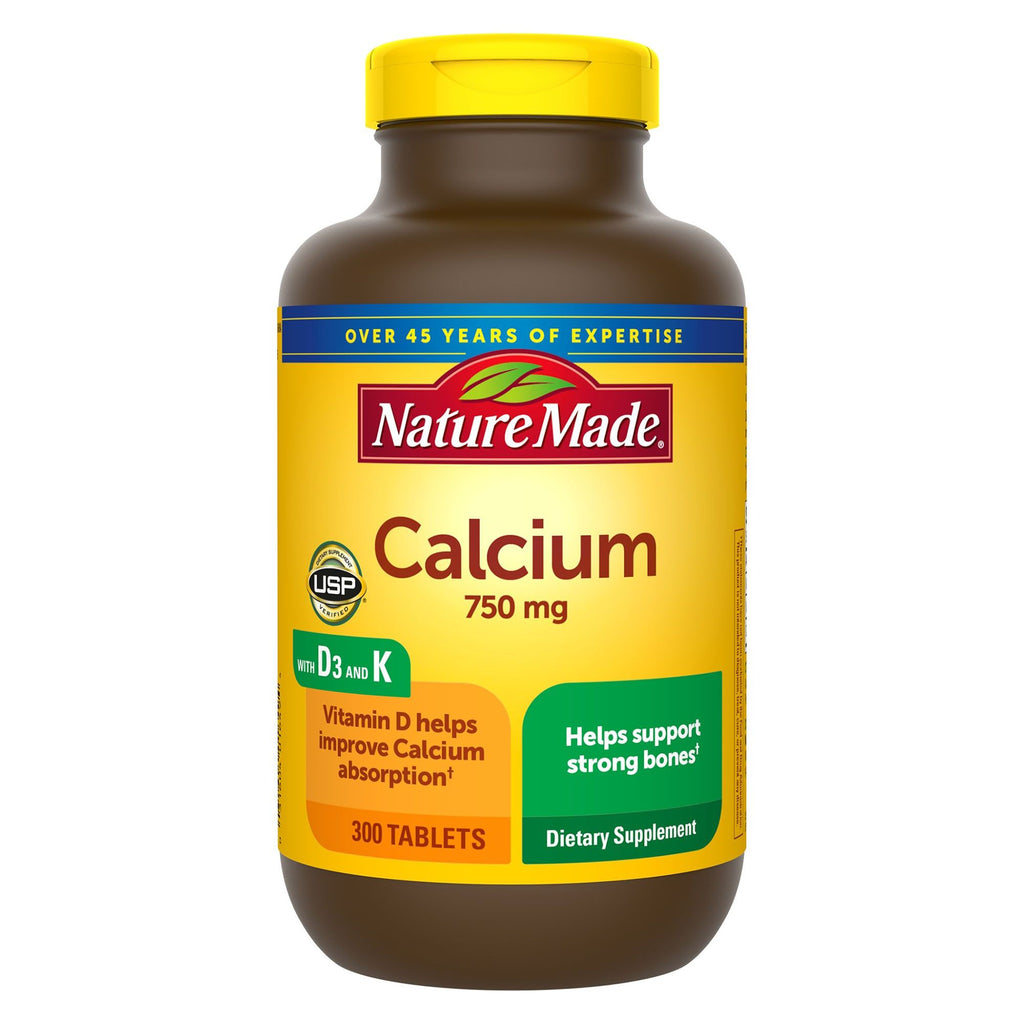 Nature Made Calcium + Vitamin D & K Dietary Supplement, 750mg, 300 Count