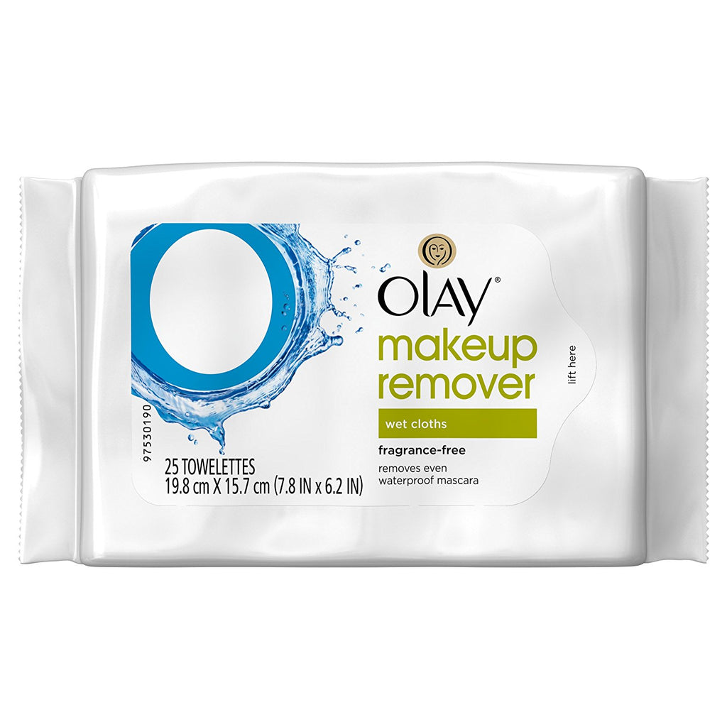 Olay Fragrance-Free Makeup Remover Wet Cloths, 25 count