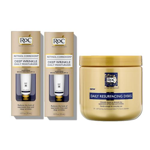 RoC Retinol Correxion Deep Wrinkle Daily Moisturizer with SPF 30 & Vitamin E, 1 Ounce, Twin Pack with 28 Bonus Daily Resurfacing Disks
