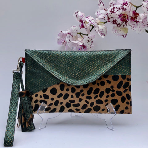 Clutch - Green & Cheetah Bag