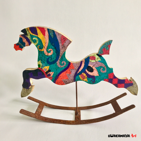 Wood sculpture for home decor by Venezuelan Artist Mariano Guillot. Horse lovers collectible art.