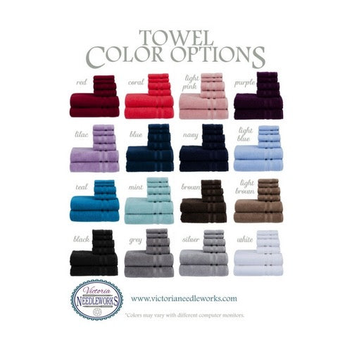 16 bath towel color options from Victoria Needleworks
