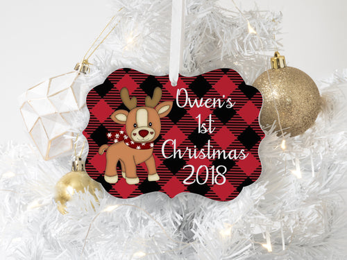 Baby's First Christmas Buffalo Plaid Ornament Personalized