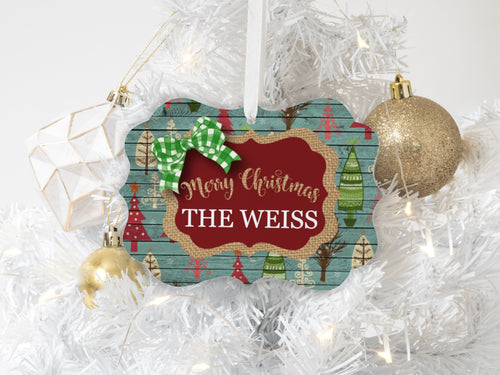 Rustic Burlap Personalized Merry Christmas Ornament Holiday Home Decor