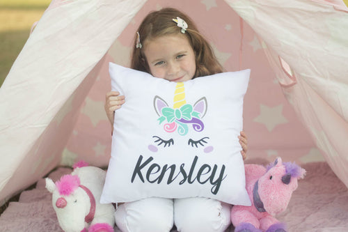 Kensley beautiful and fun unicorn pillow cover with personalized name