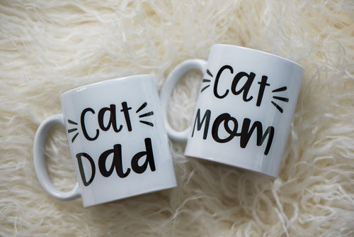 Cat Mom or Cat Dad Dishwasher safe Mug