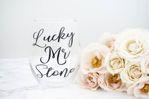 Personalized Future Mrs and Lucky Mrs Wine Glass