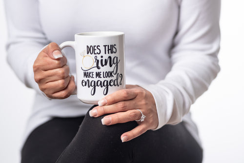 Does this ring make me look engaged Future Mrs Engagement Gift Coffee Mug