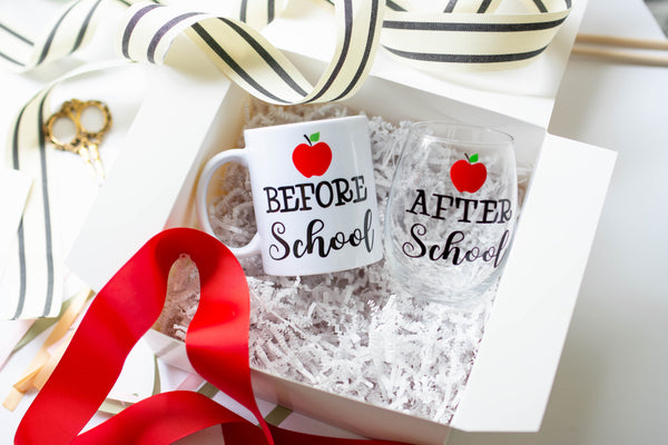 Before School Mug and After School Wine Glass Teacher Gift Set