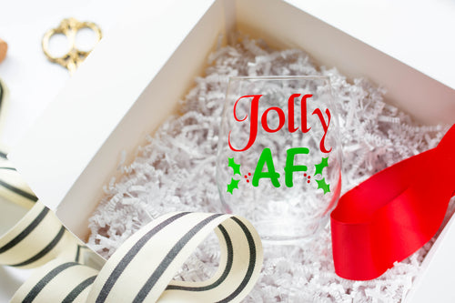 Jolly AF Funny Christmas Stemless Wine Glass
