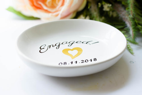 Engaged Ring and Jewelry Dish Engagement Gift for Bride